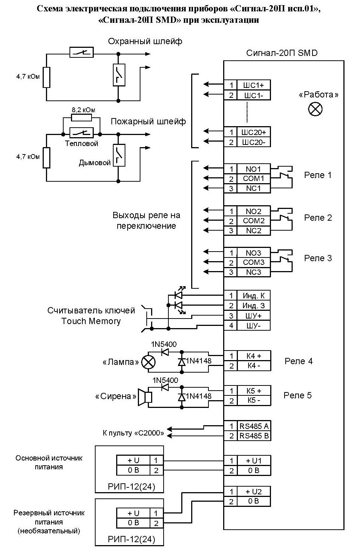 Схема выхода электрических сигналов