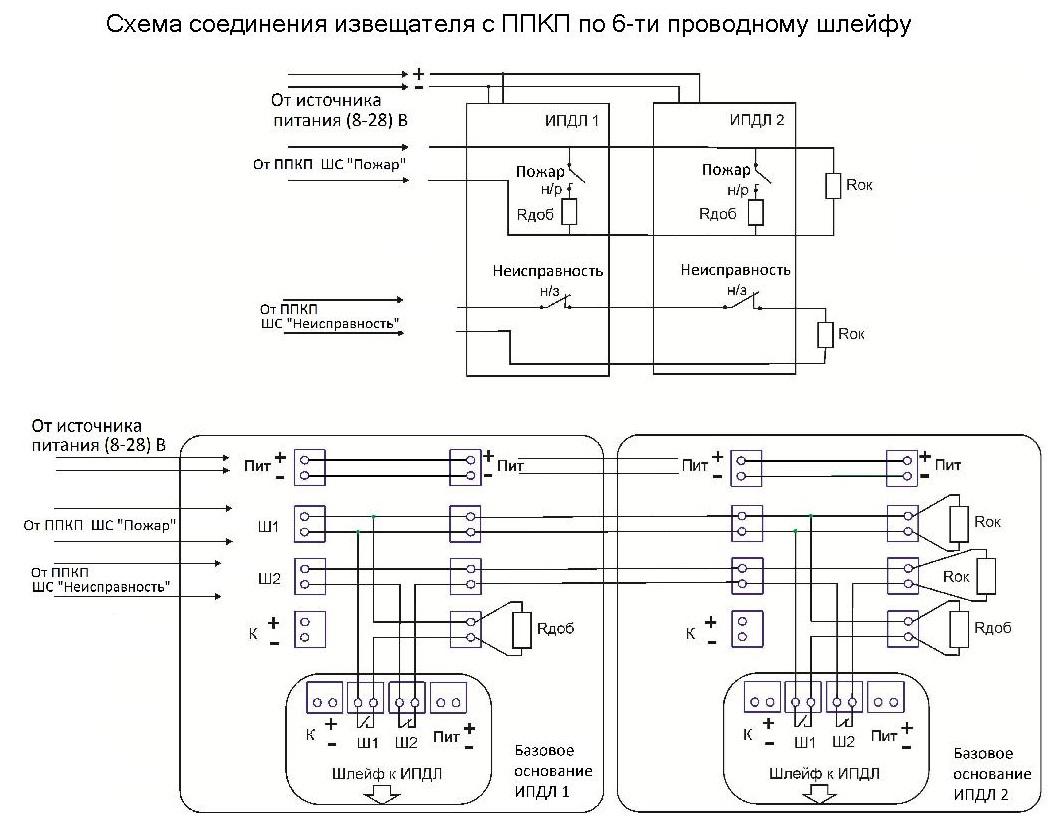 ипдл-д-ii/4р схема подключения с2000 4