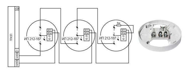 Схема подключения извещатели ип212